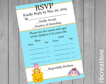 Tsum tsum party card etsy winnie the pooh rsvp tsum tsum party birthday rsvp card tsum tsum birthday stopboris Images