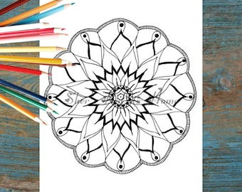 Mandala for kids, kids coloring page, kids colouring page, mandala printable, flower mandala, mandala art, instant download, round mandala