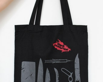 Dexter inspired Dark Passenger Tote Bag Screenprint Cotton, with long handles