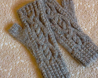 Cable Fingerless Gloves.  Knit Hand Warmers. Texting Gloves. Fingerless Mittens. Hand Knit Gloves. Gift for Her.