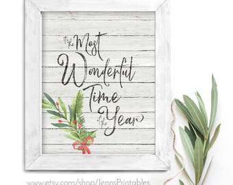 It's the Most Wonderful Time of the Year Christmas Printable; Most Wonderful Time Christmas Printable Wall Art; Christmas Decor Print