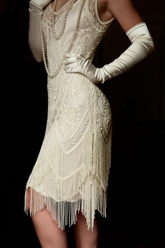 Elfenbein Perlen Jahrgang Flapper 1920 Brautkleid der große
