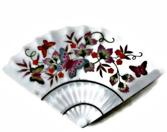 Avon Trinket Box Butterfly Fan Porcelain Floral