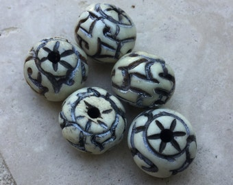 India Stained Cow Bone Beads (2)
