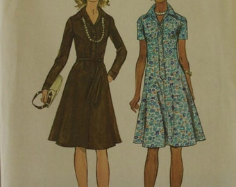 """Dress Flared A-Line - 1970's -  Simplicity Pattern 6155 Uncut Sizes  14 Bust 36 """""""