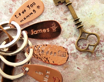 Copper Key Ring DIY 7th anniversary new home Personalised gift for husband  wedding  gift for wife