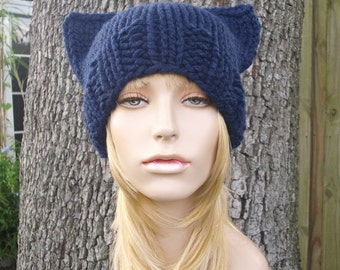 Knit Hat Womens Hat - Cat Beanie Hat in Navy Blue Knit Hat - Blue Hat Blue Beanie Navy Hat Navy Beanie Womens Accessories Winter Hat