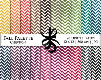 Digital Scrapbook Papers-Fall Palette Chevron-Autumn-Thanksgiving-Fall Clipart-Background-Wallpaper-Printable-Instant Download Clip Art