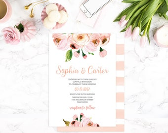Pink Wedding Invitation, Garden Wedding Invitation, Rustic Wedding Invites, Custom Floral Wedding Invitations