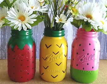 Summer Fruit Set, set of 3 quart size jars.  One strawberry,  one pineapple and one watermelon. (Left to right)