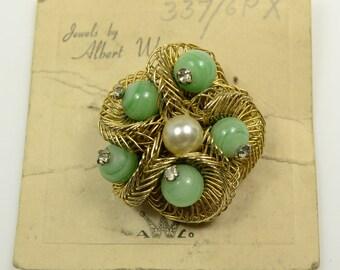 Weiss Pin on Original Card w/Peking Glass Beads, Rhinestones, and Faux Pearl