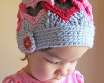 Crochet Hat PATTERN - Be Mine - crochet pattern for heart hat, linked hearts hat pattern in 8 sizes (Infant - Adult) - Instant PDF Download