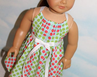 18 Inch Doll (like American Girl)  Pink and Green Dot Print Halter Sundress with Ribbon Ties