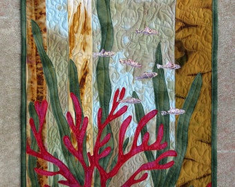 Art quilt made with hand painted fabric, wall hanging, textile art  - Beneath the Sea - fiber art