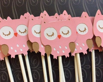 12 Detailed Pink and White Owls Cupcake toppers
