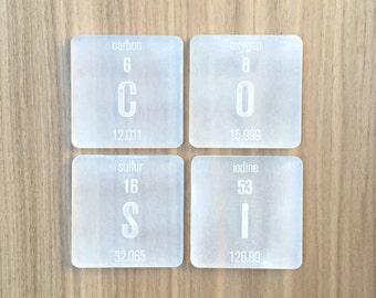 Laser Cut Plexiglass Periodic Table Elements Coasters