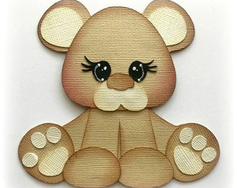 Baby bear furbaby  premade paper piecing 3d die cut by my tear bears kira
