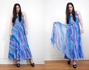 Vintage Water Color Ruffle Sheer Sundress Swing Full Sweep Maxi Dress 70's