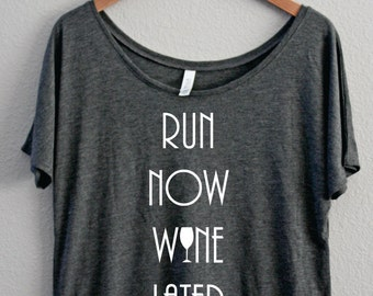 Run Now Wine Later, Slouchy Off the shoulder, Boat Neck, Coffee Shirt, Funny Shirt, I Need Coffee, I love Coffee