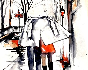 Paris Romantic Vacation Watercolors, Romantic Bliss by Lana Moes, Travel Illustration, Paris Wanderlust, City of Love, Travel Art Mementos