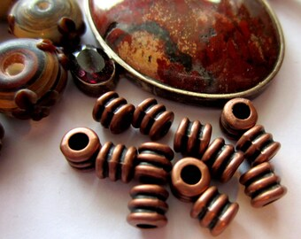 30 Copper beads sprial spacers jewelry making supply 4mm x 4mm beads-34Y-(W3)