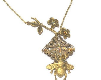 Large Steampunk Honey Bee Necklace, Ruby Jeweled, Vintage Watch Movement, Dark Metal Noir, Antiqued Brass, Swarovski Crystals, OOAK