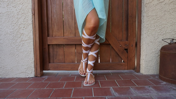 FREE SHIPPING Sandals Gladiator Sandals Sandals Sandals Up Up Sandals the Vegan Women's USA Knee White Lace High in Lace Boho TZA7cnwY0