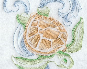 PAIR of Flour sack towels - Sea Turtle colorwork design - Embroidered Great Gift!
