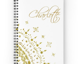 Personalized Gold Notebook, name notebook, custom notebook, custom journal, gold notebook, personalized journal, gold white journal