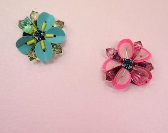 Neon pink flower beads