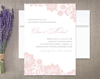 Lace Engagement Invitations