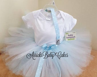 "The ""Blue Polka Dot"" Baby Girl Tutu Outfit By ArricksBabyCakes~Baby Shower~Baby Gift~Baby Photos~Tutu Skirt~Baby Onesis~Princess~Polka Dots"