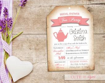 Bridal Tea Invitation, Bridal Shower Tea Party, Bridal Luncheon, Tea Bag Digital Download