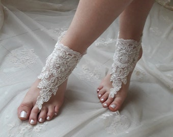 Beach wedding, Barefoot Sandals, Ivory Barefoot sandals, Bridal sandals, Wedding shoes, Bridal shoes, Bridesmaid gift