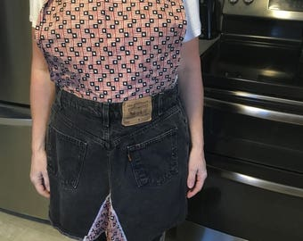 Repurposed jeans for apron.