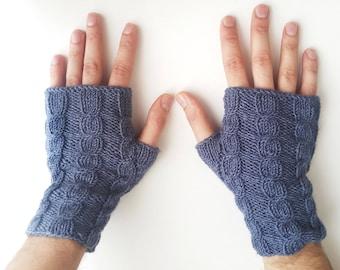 Men's cable knit gloves - Fingerless gloves men Men's knit gloves Men's blue gloves Christmas gift for him Men's arm warmers Texting gloves