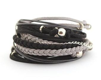 Black Gray Silver Boho Bracelet, Men's Wrap Bracelet, Men's Leather Bracelet, Men's Bohemian Jewelry, vegan bracelet, gift for boyfriend
