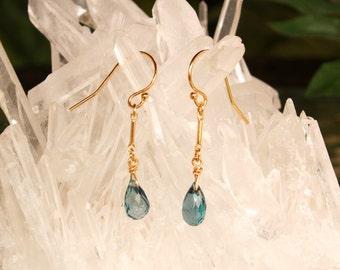 London Blue Topaz Earrings, December Birthstone, Minimalist Earrings, Gold Filled, Blue Gemstone, Lightweight, Dangle, Drop, Simple Earrings