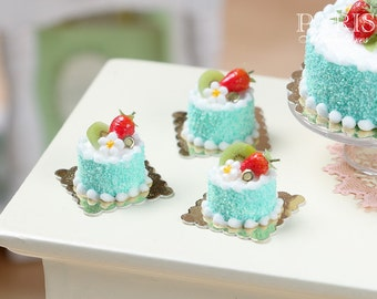 Strawberry and Kiwi Génoise - Individual Pastry - Miniature Food in 12th Scale for Dollhouse