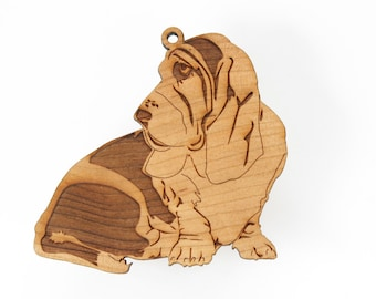 Basset Hound Ornament from Timber Green Woods. Personalize with Name Engraving! Made in the U.S.A! (Sitting Basset Hound)