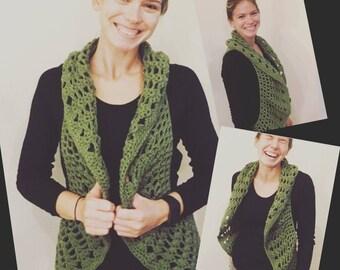 Crochet Hippie sleeveless Vest Circle Vest Circle Knit Vest Bohemian Vest Boho