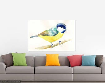 Eurasian Blue Tit Bird Watercolour Print
