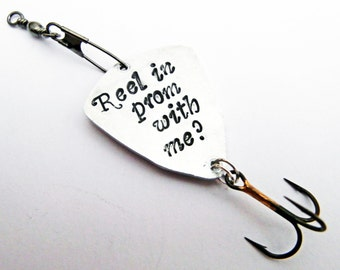 Fishing Lure Prom, Will You Go To Prom? Boyfriend Gift, Father's Day Gift, Personalized Fishing Lure, Reel with me, Prom proposal for him