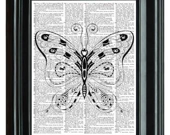 Butterfly Vintage Print, VINTAGE DICTIONARY PRINT, dictionary page, Upcycled dictionary art print,  8.25x11.25 num. 70