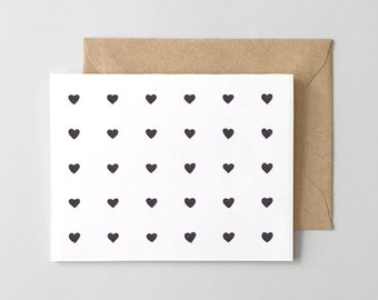 Heart Pattern Letterpress Greeting Card