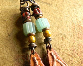 Tribal, Eye, Earrings, Egyptian, Ethnic, Rust, Pale Green, Trade Beads, Nepal, Copper