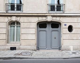 Paris Street Photography, Gray Paris Doors Fine Art Travel Photograph, Paris Print, Paris Decor, Paris Wall Art, Paris Door No. 57