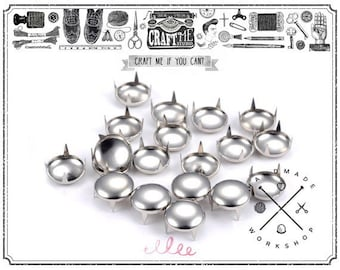 100pcs 3/8inch Silver Round Pong Studs Nailhead Leather craft biker
