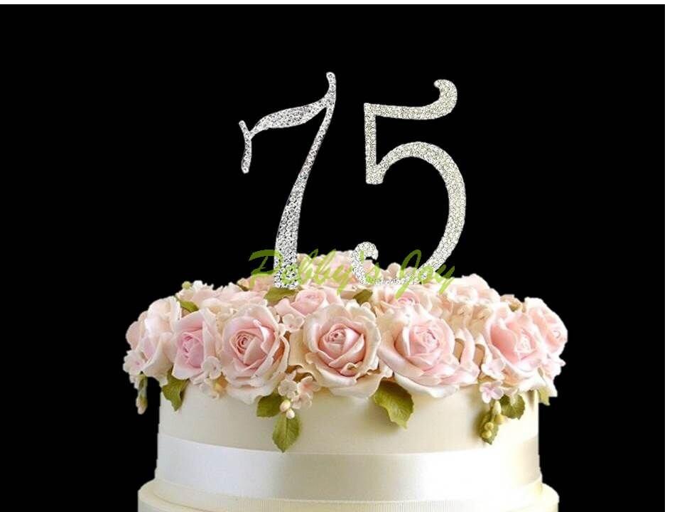 75 Rhinestone Cake Topper Silver Crystal Covered 75th Birthday