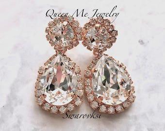 Rose gold Swarovski crystal earrings Halo crystal earrings Rose gold wedding earrings Rose gold Brides bridesmaids Wedding jewelry  SOPHIA